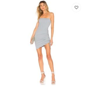 Only worn once mini ruched dress in dusty blue